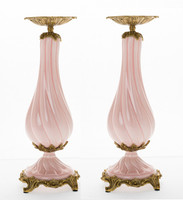 ***Lyvrich d'Elegance, Bone China and Gilded Dior Ormolu | Pink and Gold | Montauk Candlestick Pair | Candle Holder Set | 15.96t X 5.36w X 5.36d | 6304