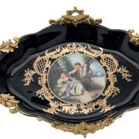 ***Lyvrich d'Elegance, Porcelain and Gilded Dior Ormolu | Romance, Bleu foncé et doré | Versailles Platter | Tray | Centerpiece | 5.71t X 22.06L X 13.16d | 6305