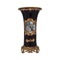 ***Lyvrich d'Elegance, Porcelain and Gilded Dior Ormolu | Romance, Bleu foncé et doré | Versailles Flower Vase | Cylinder Centerpiece | 13.20t X 7.68w X 7.68d | 6308