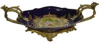 Lyvrich d'Elegance, Porcelain and Gilded Dior Ormolu   Victor Hugo's Summer Courtship, Bleu foncé et doré   Versailles Platter   Tray   Centerpiece   6.11t X 18.91L X 8.67d   6311