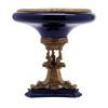 Lyvrich d'Elegance, Porcelain and Gilded Dior Ormolu | Bleu foncé et doré | Versailles Oversize Flower Bowl | Compotier | Centerpiece | 16.55t X 15.37w X 15.37d | 6313