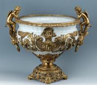 Lyvrich d'Elegance, Porcelain and Gilded Dior Ormolu   Versailles or et blanc   Fruit Compotier Dish   Gold & White Centerpiece Bowl   19.50t X 23.25w X 11.74d   6317