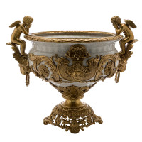***Lyvrich | Handmade Compotier Dish, Pedestal Fruit Bowl, Compote, | Porcelain and Gilded Dior Ormolu, | Versailles, or et Fractured hors Blanc, | Gold & White | 19.50t X 23.25w X 11.74d | 6318
