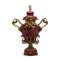 ***Lyvrich d'Elegance, Porcelain and Gilded Dior Ormolu | Versailles Potiche Jar | Covered Statement Urn | Centerpiece | 28.37t X 20.09w X 12.41d | 6324