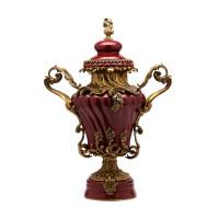 ***Lyvrich d'Elegance, Porcelain and Gilded Dior Ormolu | Versailles Potiche Jar | Covered Statement Urn | Centerpiece | 28.37t X 20.09w X 12.41d | 6324