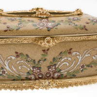 ***Lyvrich d'Elegance, Porcelain and Gilded Dior Ormolu   Crackle, Hand Painted, Clustered Flowers, Tan   Tissue Box Centerpiece   4.73t X 11.62L X 6.34d   6330