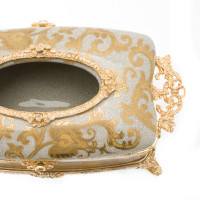 ***Lyvrich d'Elegance, Porcelain and Gilded Dior Ormolu | Crackle, Lotus Scroll Arabesque | Tissue Box Centerpiece | 4.73t X 11.62L X 6.34d | 6331