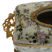 ***Lyvrich d'Elegance, Porcelain and Gilded Dior Ormolu | Crackle | Tissue Box Centerpiece | 4.73t X 11.62L X 6.34d | 6332