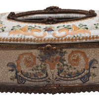 ***Lyvrich d'Elegance, Porcelain and Gilded Dior Ormolu | Crackle | Tissue Box Centerpiece | 4.73t X 11.62L X 6.34d | 6334