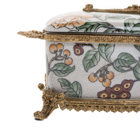 ***Lyvrich d'Elegance, Crackle Porcelain and Gilded Dior Ormolu | Orange Blossoms, Berries and Greenery | Tissue Box Centerpiece | 4.73t X 11.62L X 6.34d | 6335