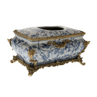 ***Lyvrich d'Elegance, Porcelain and Gilded Dior Ormolu | Blue and White Natural Simplicity | Bombé Tissue Box Centerpiece | 6.11t X 10.84L X 7.17d | 6337