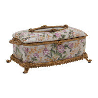 ***Lyvrich d'Elegance, Porcelain and Gilded Dior Ormolu | Crackle | Tissue Box Centerpiece | 4.73t X 11.62L X 6.34d | 6339