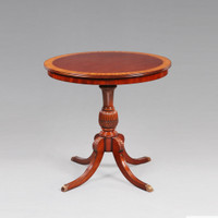 Late Georgian Thomas Sheraton Style - 32.5 Inch Handcrafted Reproduction Accent End | Side | Lamp Table - Mahogany Luxurie Furniture Finish M