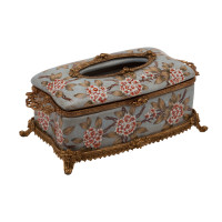***Lyvrich d'Elegance, Porcelain and Gilded Dior Ormolu | Crackle | Tissue Box Centerpiece | 4.73t X 11.62L X 6.34d | 6340