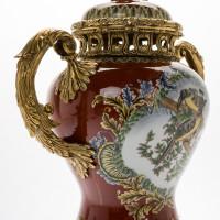 ***Lyvrich d'Elegance, Porcelain and Gilded Dior Ormolu | European Potiche Jar | Covered Statement Urn | Centerpiece | 21.67t X 16.55w X 9.85d | 6341