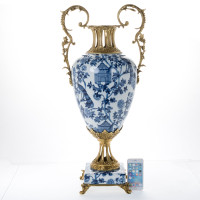 ***Lyvrich d'Elegance, Porcelain and Gilded Dior Ormolu | Blue on Pale Blue Birdcage Potiche Vase | Trophy Cup #1 | Statement Centerpiece | 30.34t X 13.95w X 10.64d | 6349