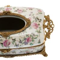 ***Lyvrich d'Elegance, Porcelain and Gilded Dior Ormolu | Crackle | Tissue Box Centerpiece | 4.73t X 11.62L X 6.34d | 6355