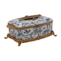 "***Lyvrich d'Elegance, Porcelain and Gilded Dior Ormolu | Blue and White Natural Simplicity | Tissue Box Centerpiece | 4.73""t X 11.62""L X 6.34""d 