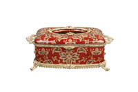 ***Lyvrich d'Elegance, Porcelain and Gilded Dior Ormolu | Crackle | Tissue Box Centerpiece | 4.73t X 11.62L X 6.34d | 6358
