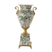 ***Lyvrich d'Elegance, Crackle Porcelain and Gilded Dior Ormolu | Orange Blossoms, Berries and Greenery | Potiche Vase on Plinth | Trophy Cup #2 | Statement Centerpiece | 21.67t X 11.74w X 8.43d | 6367