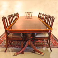 American Empire Duncan Phyfe - 184 Inch Handcrafted Reproduction - Brass Claw Foot - Tripod Pedestal Dining Extension Table - Wood Tone Mahogany Luxurie Furniture Finish M