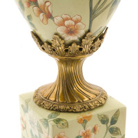 ***Lyvrich d'Elegance, Porcelain and Gilded Dior Ormolu | Large Flowers and Greenery | Potiche Vase on Plinth | Trophy Cup #2 | Statement Centerpiece | 21.67t X 11.74w X 8.43d | 6370