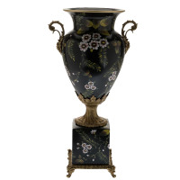 ***Lyvrich d'Elegance, Handpainted Porcelain and Gilded Dior Ormolu | Fleurs rose sur le noir | Potiche Vase on Plinth | Trophy Cup #2 | Statement Centerpiece | 21.67t X 11.74w X 8.43d | 6371