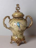 ***Lyvrich d'Elegance, Porcelain and Gilded Dior Ormolu   European Potiche Jar   Covered Statement Urn   Enormous Centerpiece   21.67t X 16.55w X 9.85d   6373