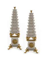 ***Lyvrich d'Elegance, Crackled Porcelain and Gilded Dior Ormolu   Tulip, Display Vases   Extraordinary Pair of Statement Centerpieces   24.03t X 8.08w X 8.08d   6375