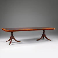 American Empire Duncan Phyfe - 110 Inch Handcrafted Reproduction - Flame Veneer - Brass Claw Foot - Tripod Pedestal Dining Extension Table - Wood Tone Mahogany Luxurie Furniture Finish M