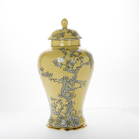 ***Lyvrich d'Elegance, Porcelain and Gilded Dior Ormolu   Abstract Chinoiserie, Gold & Silver Jar   Fantastic Covered Urn Centerpiece   20.29t X 11.30w X 11.30d   6393