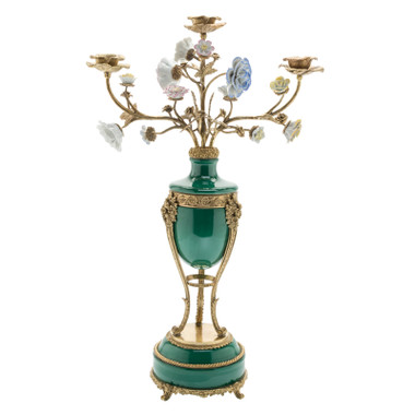 ***Lyvrich d'Elegance, Porcelain and Gilded Dior Ormolu | Solid Green Candle Holder | Decorated with Flowers | Beautiful Candelabrum | 23.64t X 12.14w X 6.11d | 6395