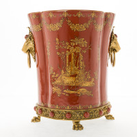 ***Lyvrich d'Elegance, Porcelain and Gilded Dior Ormolu | Glen Cove Centerpiece Planter | Warm Red and Gold Jeweled Chinoiserie | 12.00t X 10.05w X 10.05d | 6403