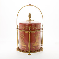 ***Lyvrich d'Elegance, Porcelain and Gilded Dior Ormolu | Glen Cove, Connoisseur Ice Bucket, Wine, Champagne Cooler | Warm Red and Gold Jeweled Chinoiserie | 16.74t X 11.35w X 11.35d | 6405