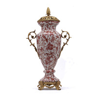 ***Lyvrich d'Elegance, Porcelain and Gilded Dior Ormolu   Fantastic Covered Urn Centerpiece   24.02t X 13.12w X 7.49d   6410