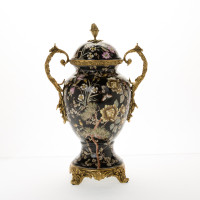 ***Lyvrich d'Elegance, Porcelain and Gilded d'oro Brass | Covered Jar | Urn Centerpiece | 15.56t X 10.32w X 6.86d | 6413