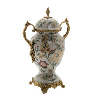 ***Lyvrich d'Elegance, Porcelain and Gilded d'oro Brass | Covered Jar | Urn Centerpiece | 15.56t X 10.32w X 6.86d | 6415