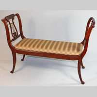 American Empire Duncan Phyfe - 47 Inch Handcrafted Reproduction Lyre Bench - Gold Stripe Upholstery 009a - Wood Tone Mahogany Luxurie Furniture Finish M
