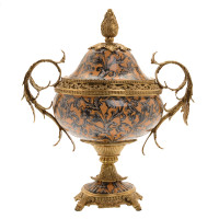 ***Lyvrich d'Elegance, Porcelain and Gilded d'oro Brass | Covered Jar | Urn Centerpiece | 18.91t X 16.74w X 11.03d | 6420