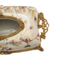 ***Lyvrich d'Elegance, Crackle Porcelain and Gilded d'oro Brass | Pastel Watercolor Flowers & d'or Gold | Tissue Box Centerpiece | 4.73t X 11.62L X 6.34d | 6423