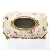 ***Lyvrich d'Elegance, Porcelain and Gilded d'oro Brass | Oiseaux, Fleurs Roses Délicates et Papillons | Tissue Box Centerpiece | 5.71t X 12.21L X 7.49d | 6426
