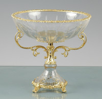 ***Lyvrich d'Elegance, Cut Crystal and Gilded d'or Brass Ormolu | Compote Fruit Bowl | Centerpiece Dish | 12.02t X 12.61w X 12.61d | 6435