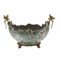 ***Lyvrich d'Elegance, | Handmade Flower Pot, Statement Planter Centerpiece | Porcelain and Gilded Ornamental, Dragonfly Dior Ormolu, | Unspecified Pattern, Green, Purple and Orange Butterflies, | 9.85t X 14.74L X 8.98d | 6443