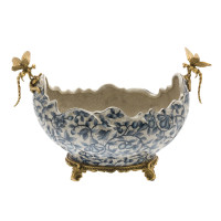 ***Lyvrich d'Elegance, | Handmade Flower Pot, Statement Planter Centerpiece | Porcelain and Gilded Ornamental, Dragonfly Dior Ormolu, | Blue and White, Tan Fractured, Fruits, | 9.85t X 14.74L X 8.98d | 6446