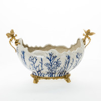 ***Lyvrich d'Elegance, | Handmade Flower Pot, Statement Planter Centerpiece | Porcelain and Gilded Ornamental, Dragonfly Dior Ormolu, | Blue and White, Tan Fractured, Winter, | 9.85t X 14.74L X 8.98d | 6448