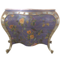 ***Lyvrich Furniture, | Handmade Bombé Chest of Drawers, for Entry, Dining, Dresser, | Hand Painted Nature Scene with Marble, | 36.25t X 54.77L X 22.85d | 6451