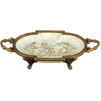 "***Celadon Toile | Small Decorative Dish, | Gilded Dior Ormolu Trim, | 6""L X 4""d X 2""t 