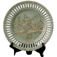 "***Celadon Toile | Small Decorative Plate, | 10"" Diameter