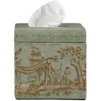 "***Celadon Toile | Boutique Tissue Box Cover, | 5.75""t X 5.75""w X 5.75""d 