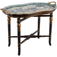 """***Blue & White Willow   Tray on Stand, Cocktail, Coffee, End Table   Gilded Dior Ormolu Trim,   29"""" X 20"""" X 17""""   6466"""